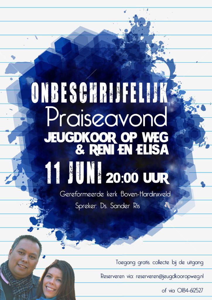 Poster Praiseavond Op Weg & Reni en Elisa Krijgsman